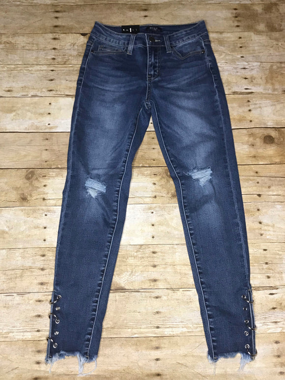 SKINNY DENIM JEANS WITH EYELET AND FRAY HEM - bottoms