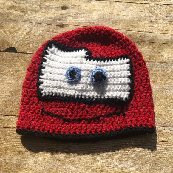 Crochet knit Cars Baby Toddler kids Beanie Hat Lightning McQueen