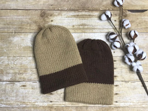 Knit Beanie Hat - unisex men's ladies handmade - Brown and Taupe - double layer - knitted