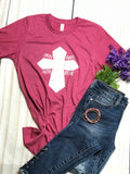 "SALE  ""Pray Hope Faith Believe"" Cross Ladies short sleeves Shirt - graphic tee- top"