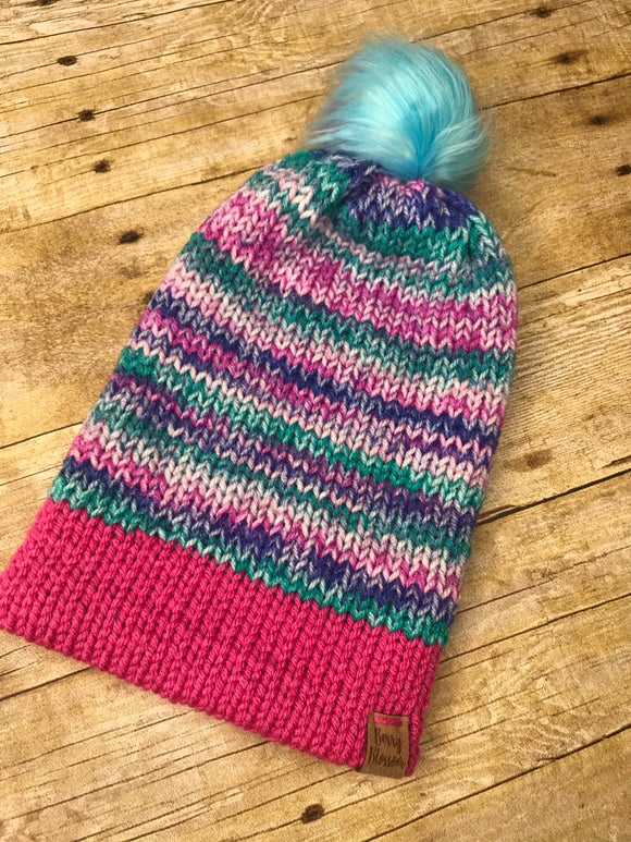 Knit Beanie Hat Pink Purple Teal - faux fur pom pom