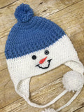 Crochet knit Snowman Baby Toddler kids Beanie Hat