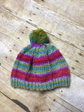 Hand knitted Teen/Adult size beanie hat Multi color with matching pop pom