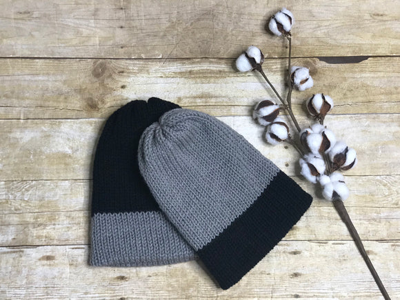 Knit Beanie Hat - unisex men's ladies handmade - black and grey - double layer -