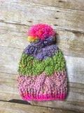 Hand knitted Toddler kids beanie hat Multi color with fur pop pom