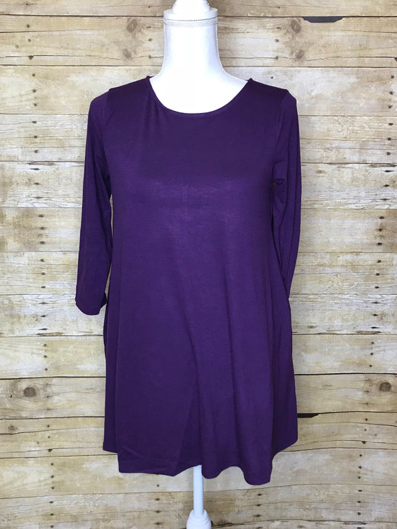 BOAT NECK FLARED TOP WITH SIDE POCKETS - 3/4 Sleeves - Dark Purple