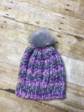 Hand knitted Teen/Adult size beanie hat Purple, grey and white with fur pop pom