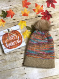 Knit fall autumn colors slouch beanie hat fur Pom Pom