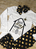 "Girls Christmas ""Best Day Ever""Top long sleeves white shirt baby Jesus"