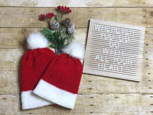Mommy and me Knit Beanie Hat Christmas Santa hat double layer faux fur pom pom