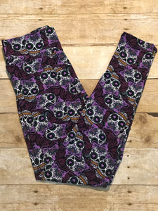 Ladies Sugar Skulls print ultra soft Leggings - Black, Purple