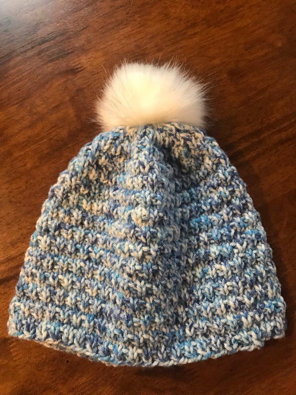 Hand knitted Adult size beanie hat blue fur Pom Pom