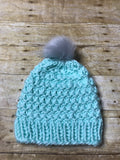 Hand knitted Adult size beanie hat Mint color with fur pop pom
