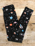 Ladies Outer Space print ultra soft Leggings - Black - women's