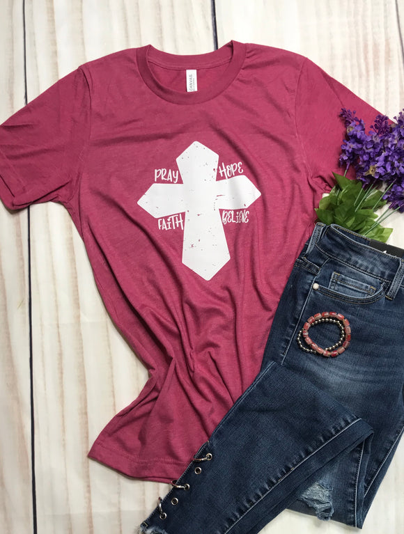 """Pray Hope Faith Believe"" Cross Ladies short sleeves Shirt - graphic tee- top"