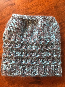 Hand knitted messy bun ladies beanie hat grey teal
