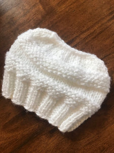 Hand knitted ponytail white ladies beanie hat