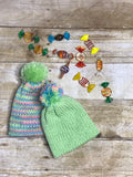 Knit Baby Newborn Beanie Hat - handmade - Pastel colors girls - double layer - knitted