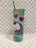 Unicorn and Hearts 20 oz Skinny Tumbler with Straw