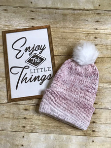 Knit Slouch Beanie Hat Pink and White  - faux fur pom pom