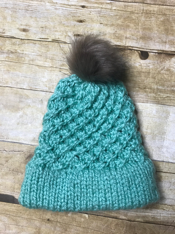 Hand knitted Teen/Adult size beanie hat Dark Mint green color with fur pop pom