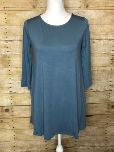 BOAT NECK FLARED TUNIC TOP WITH SIDE POCKETS - 3/4 Sleeves - Grey