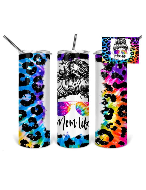 Mom Life 20oz Skinny Tumbler custom drink wear - with straw - Stainless Steel cup