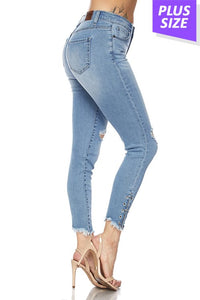 """SALE"" SKINNY DENIM JEANS WITH EYELET AND FRAY HEM -plus size bottoms"