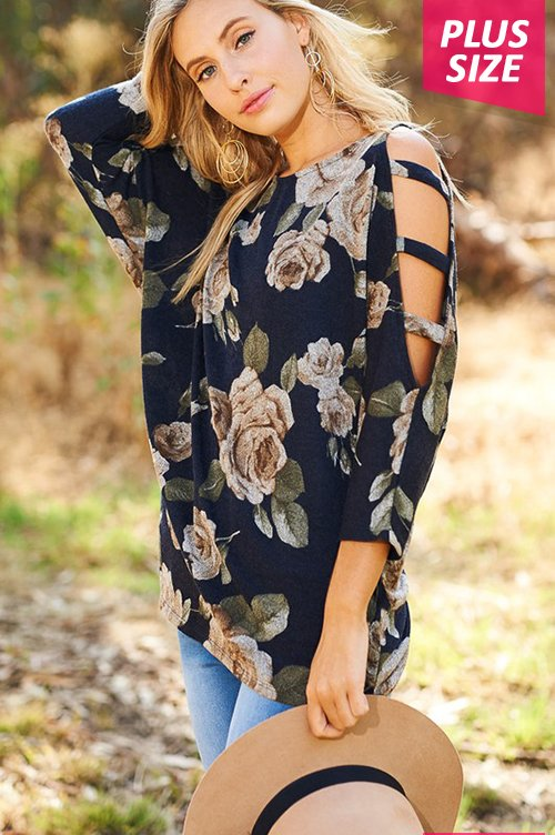 Floral top with cut out sleeves - Plus size - Navy
