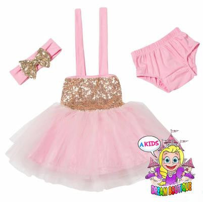 Pink gold tutu dress with matching headband and bloomers - 3 piece girls outfit