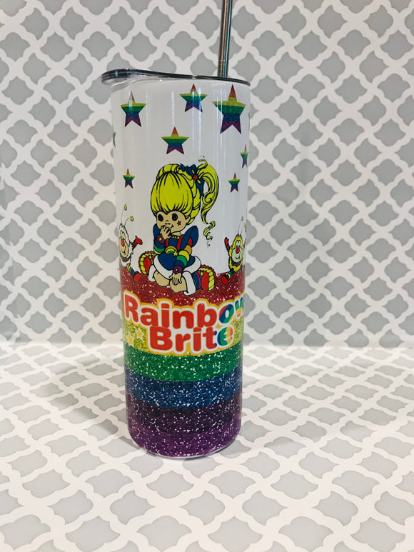 Rainbow Brite Custom 20 oz Skinny Tumbler with Straw