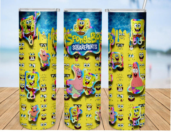 Spongebob 20oz Skinny Tumbler custom drinkware - with straw - Stainless Steel cup -