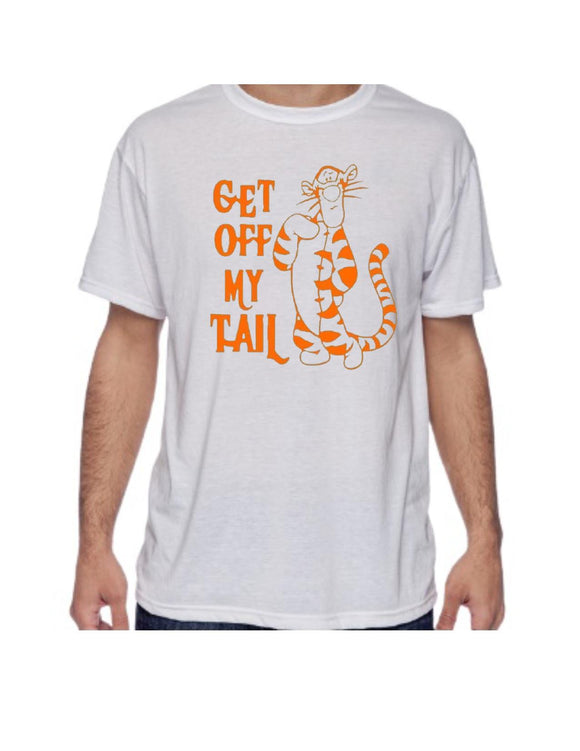Get Off My Tail Tigger Tee - shirt - top - white t-shirt -unisex sizing - Winnie The Pooh