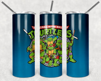 Ninja Turtles 20oz Skinny Tumbler custom drinkware - with straw - Stainless Steel cup- TMNT