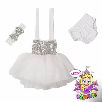 White silver sequin tutu dress with matching headband and bloomers -girls, baby, toddler