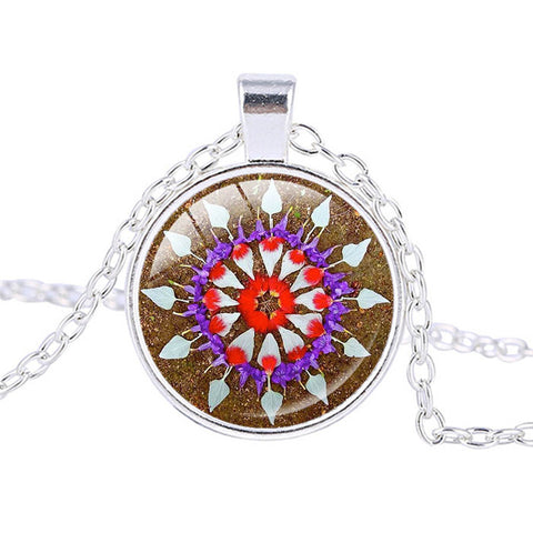 Blue Mandala Flower Necklace