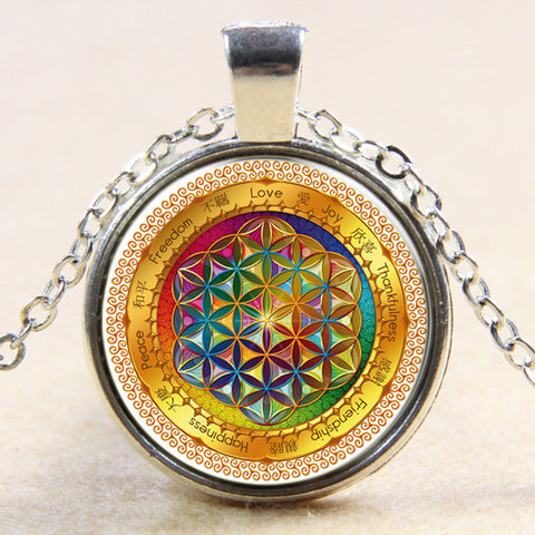 Rainbow Flower Of Life Pendant
