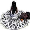 White Black Feather Round Blanket