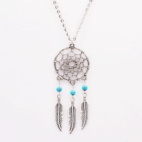 Silver Feather Dreamcatcher Necklace
