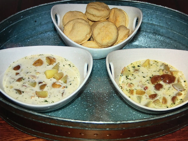 Dill Chicken Chowder with Southern biscuits