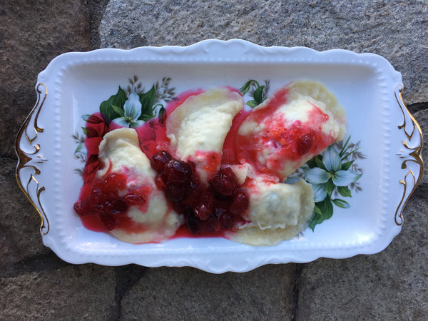 Holiday Perogies with Cranberry Sauce
