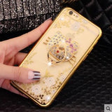 Luxury Crystal Flowers Cat iPhone Case