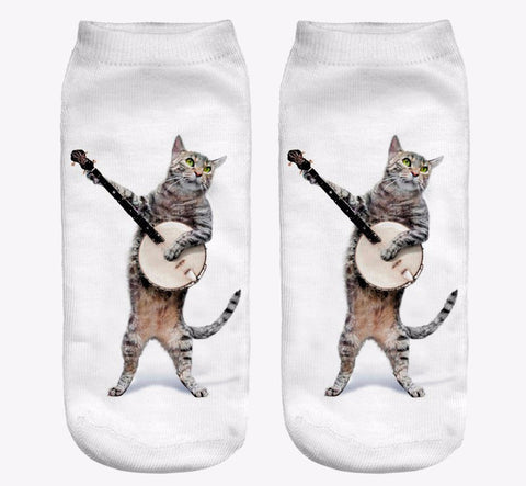 Guitar Cat Women Socks