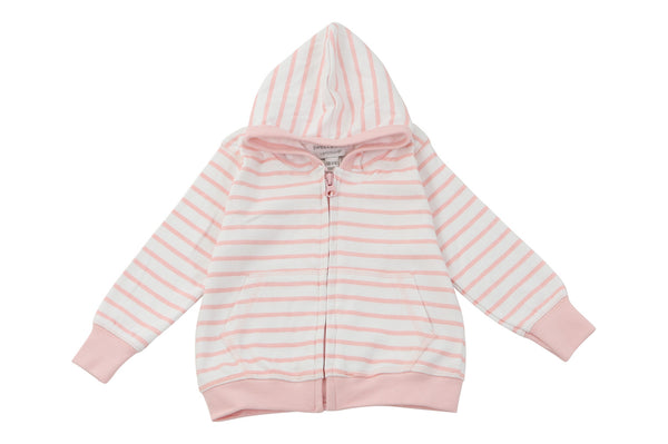 hoodie in light pink marseille stripe