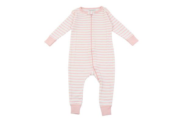 long romper in light pink marseille stripe