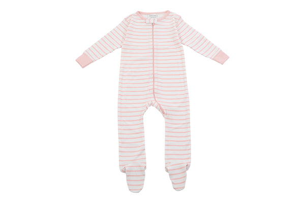 footed pajamas in light pink marseille stripe