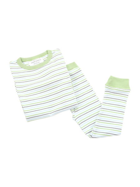 long pjs in lazy day summer stripe - Sweet Peanut - 1