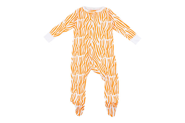 Bamboo Orange Zebra Footie