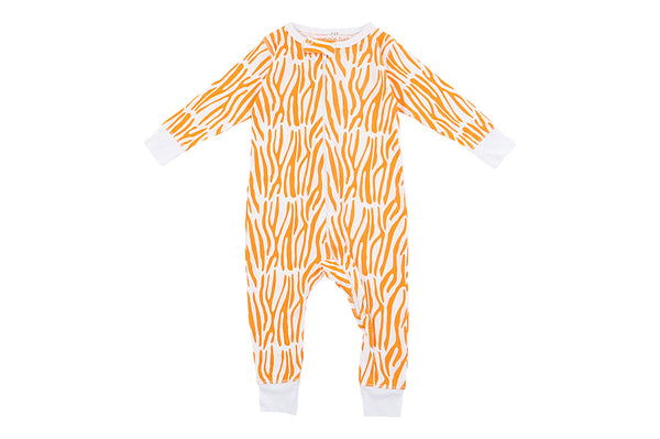 Bamboo Orange Zebra Long Romper