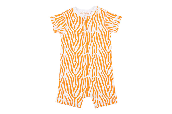 Bamboo Orange Zebra Short Romper